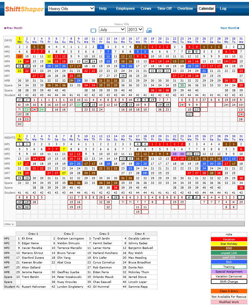 calendar shows detail provided by Shiftshaper software